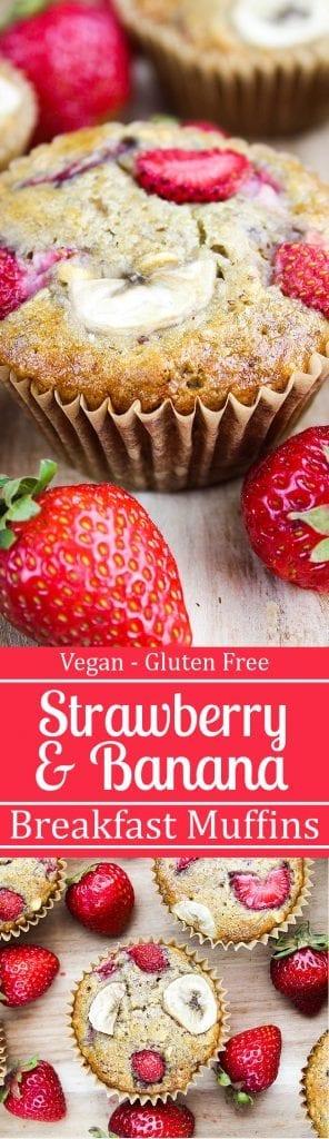 Strawberry Banana Breakfast Muffins - No refined sugar & they're vegan & gluten-free.