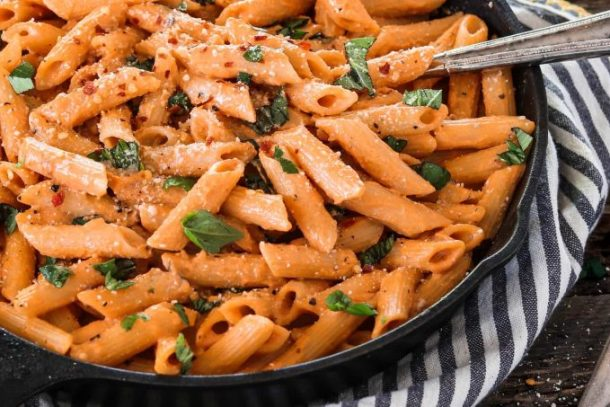 Close up photo of Roasted Red Pepper Pasta