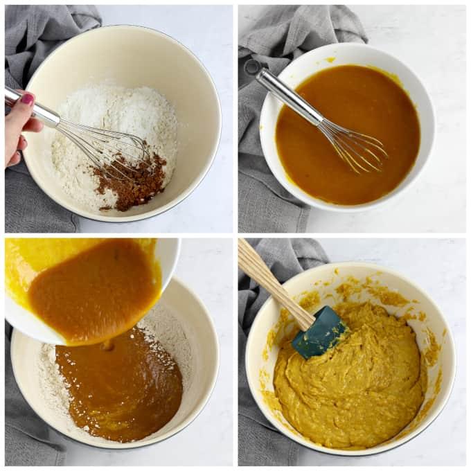 4 process photos of making donut batter.
