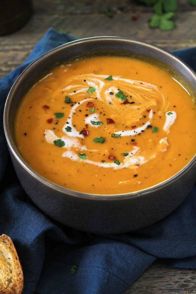 Cloesup photo of vegan carrot ginger soup.