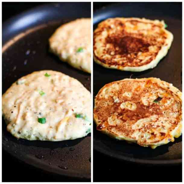 two process photos of cooking savory pancakes on a hot skillet.