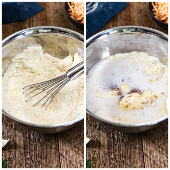 two process photos of mixing wet ingredients into dry ingredients for savory pancakes.