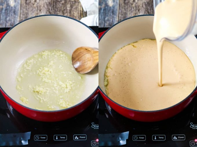 Sautéing garlic in vegan butter and then adding vegan cheese sauce to a red pot.