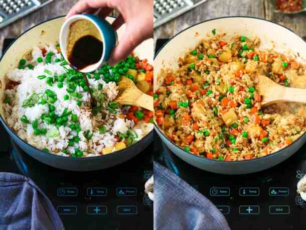 Process photos of pouring tamari into rice and then fully combined pineapple fried rice.