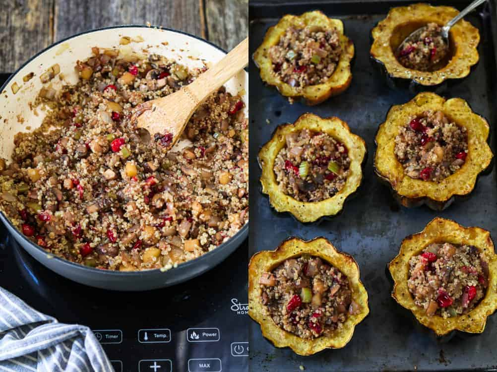 2 process photo of combining quinoa to mixture in a gray pan. Then filling roasted acorn squash with a spoon.
