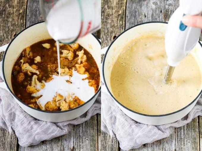 Process photos. Pouring coconut milk into white pot. Blending vegan cauliflower soup with an immersion blender.