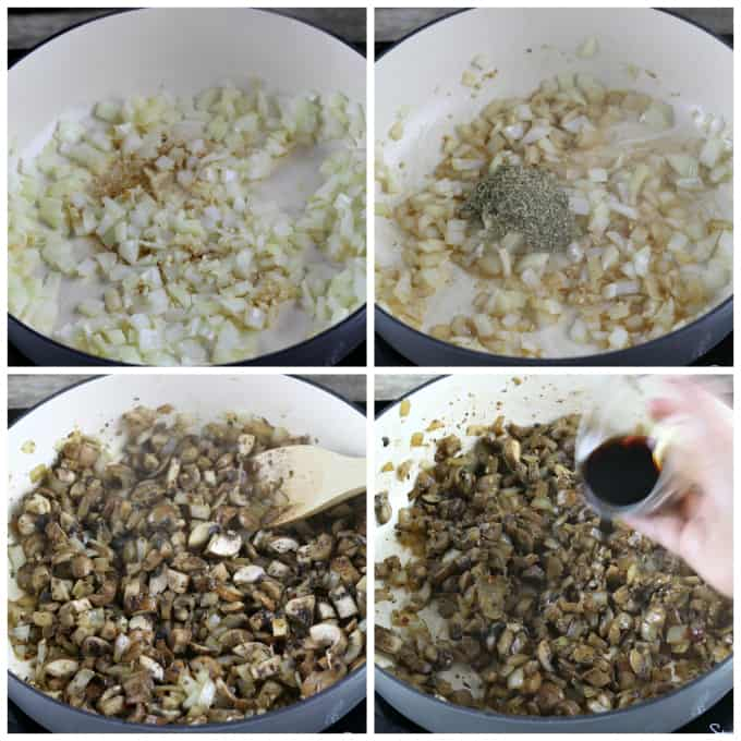4 process photos of sauteing onions, garlic, seasonings and mushrooms.