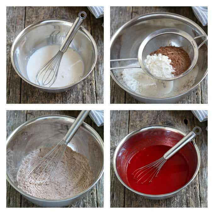 4 process photos of mixing wet ingredients and dry ingredients for vegan red velvet cupcakes.