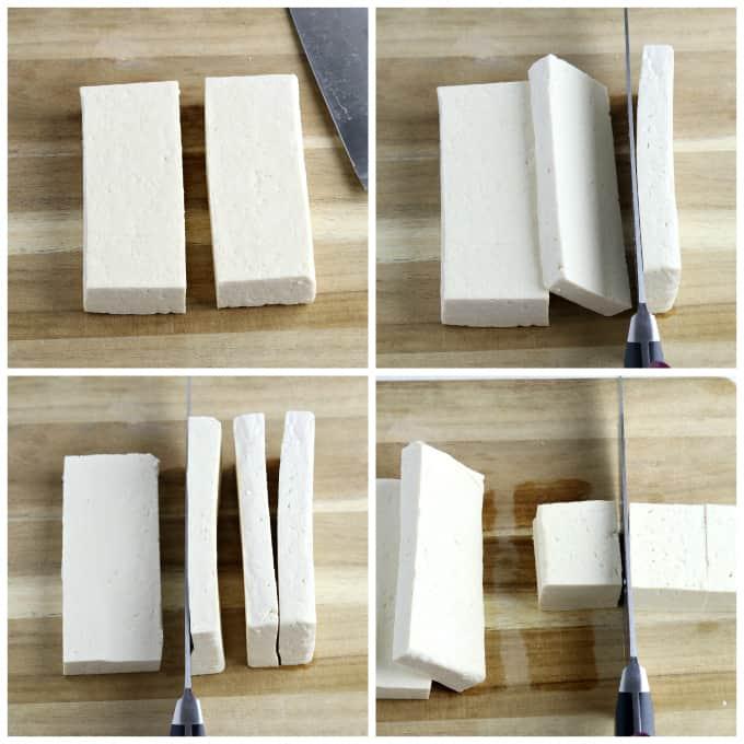 4 process photos of cutting tofu into squares,