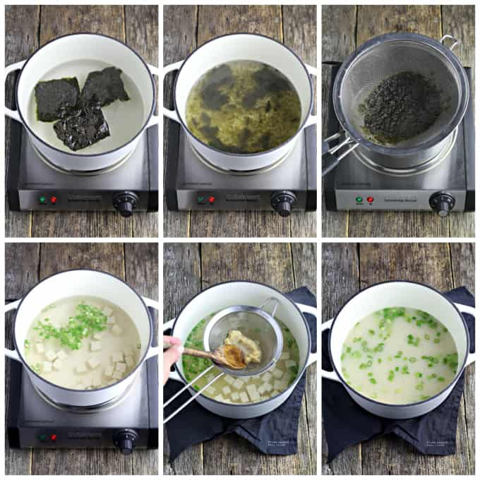 Six process photos of simmering seaweed and cooking tofu and green onions.