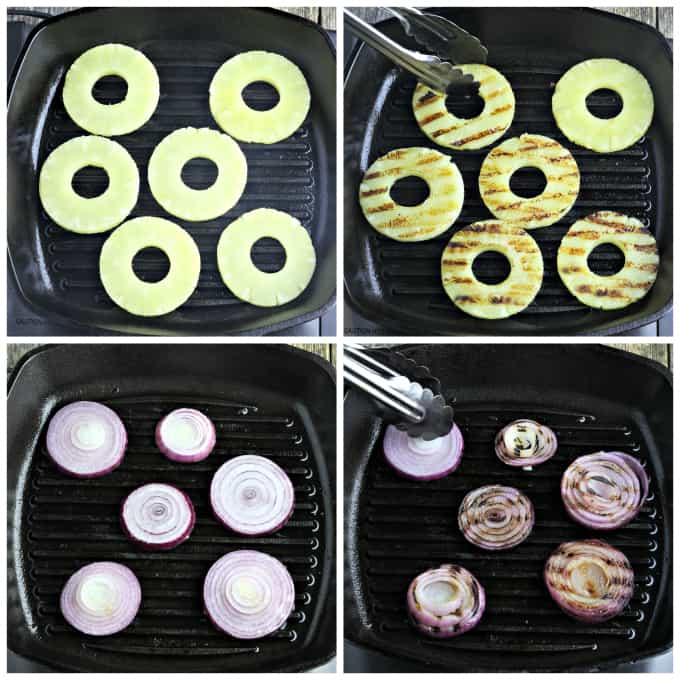 Process photos of grilling pineapple and onions in a grill pan.