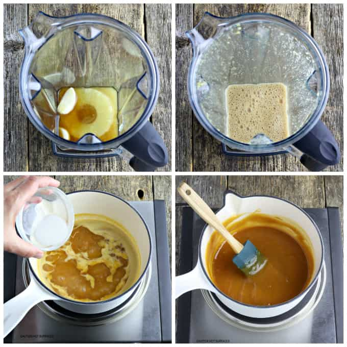 Four process photos of blending glaze and thickening in a white pot.