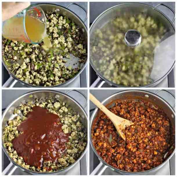 Four process photos of making sloppy joe mixture.