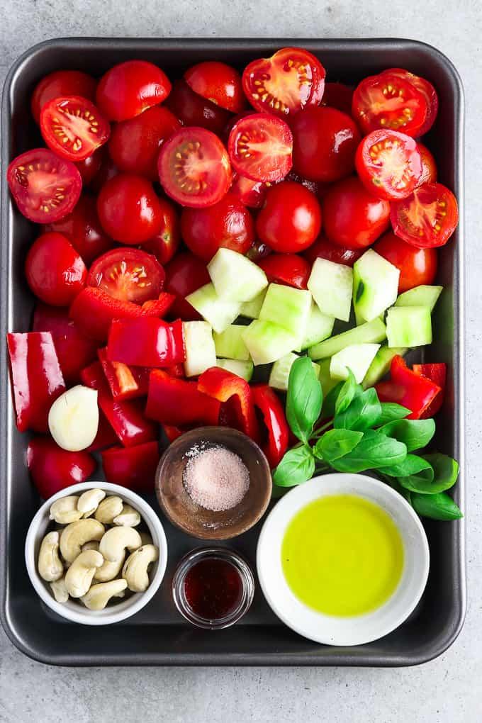 Tray full of fresh ingredients to make an easy gazpacho recipe.