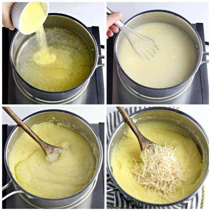 Four process photos of cooking polenta in a pot.