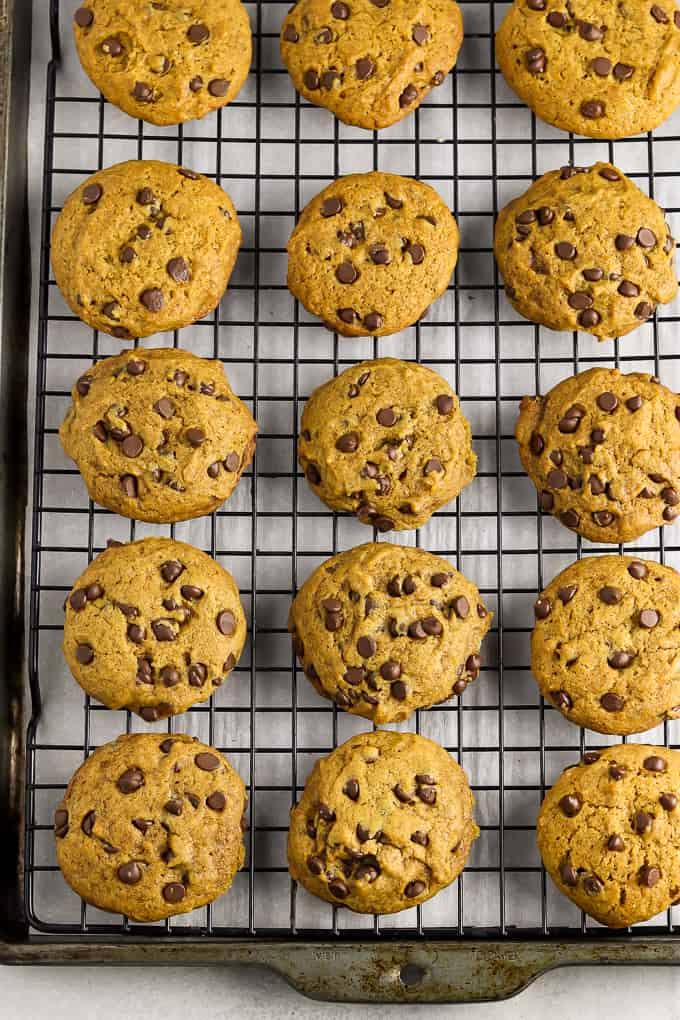 Freshly baked pumpkin chocolate chip cookies on a cooling rack.