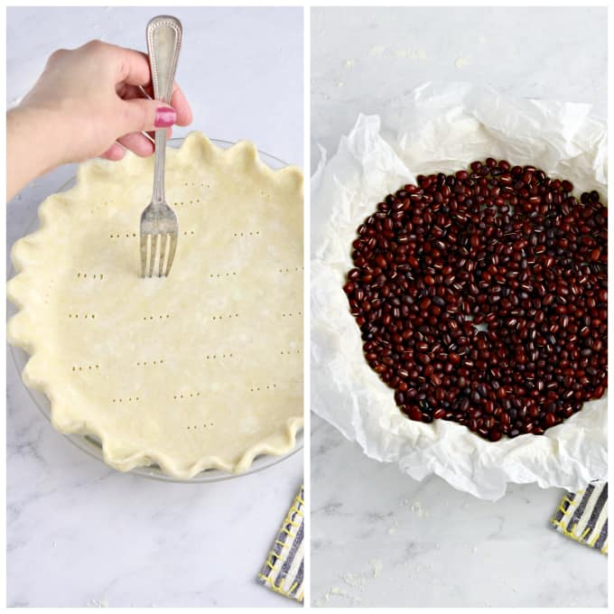 2 process photos of docking a vegan pie crust and preparing it for blind baking.