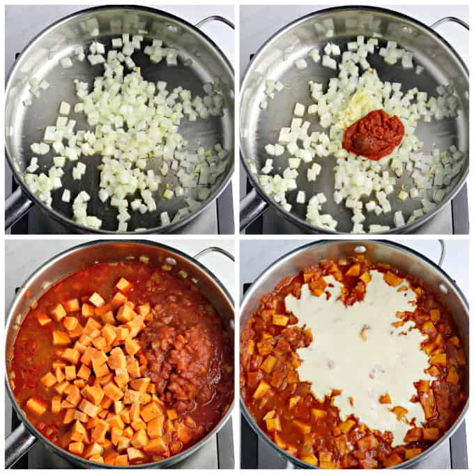 Four process photos of cooking curry in a pan.
