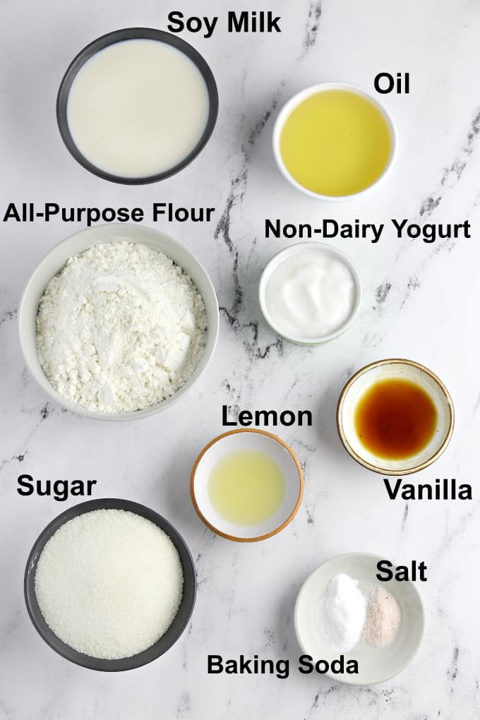 Photo of ingredients to make the recipe on a marble tabletop.