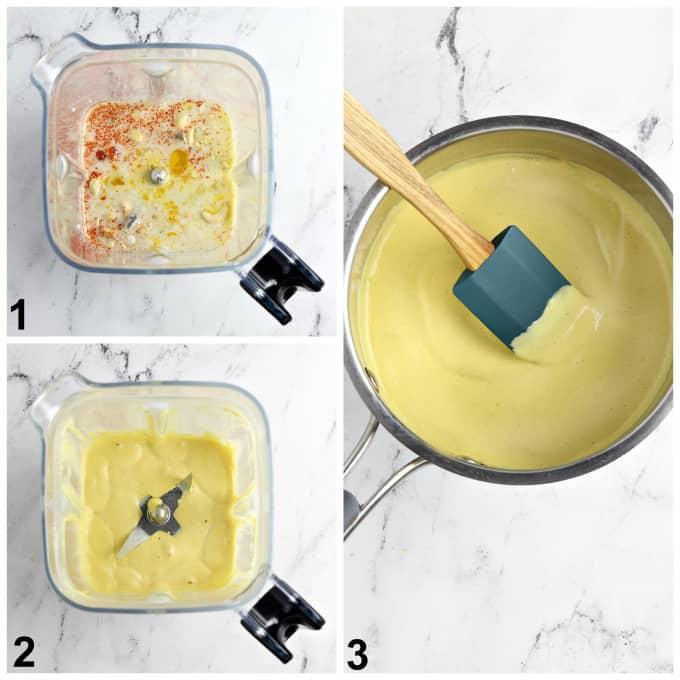 3 process photos of making vegan hollandaise sauce.