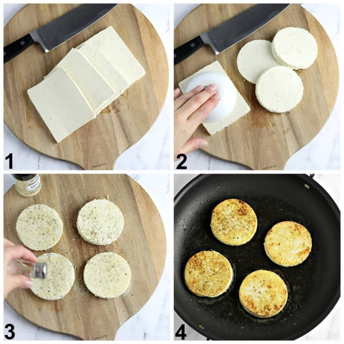 4 process photos of cutting tofu and frying in a pan.