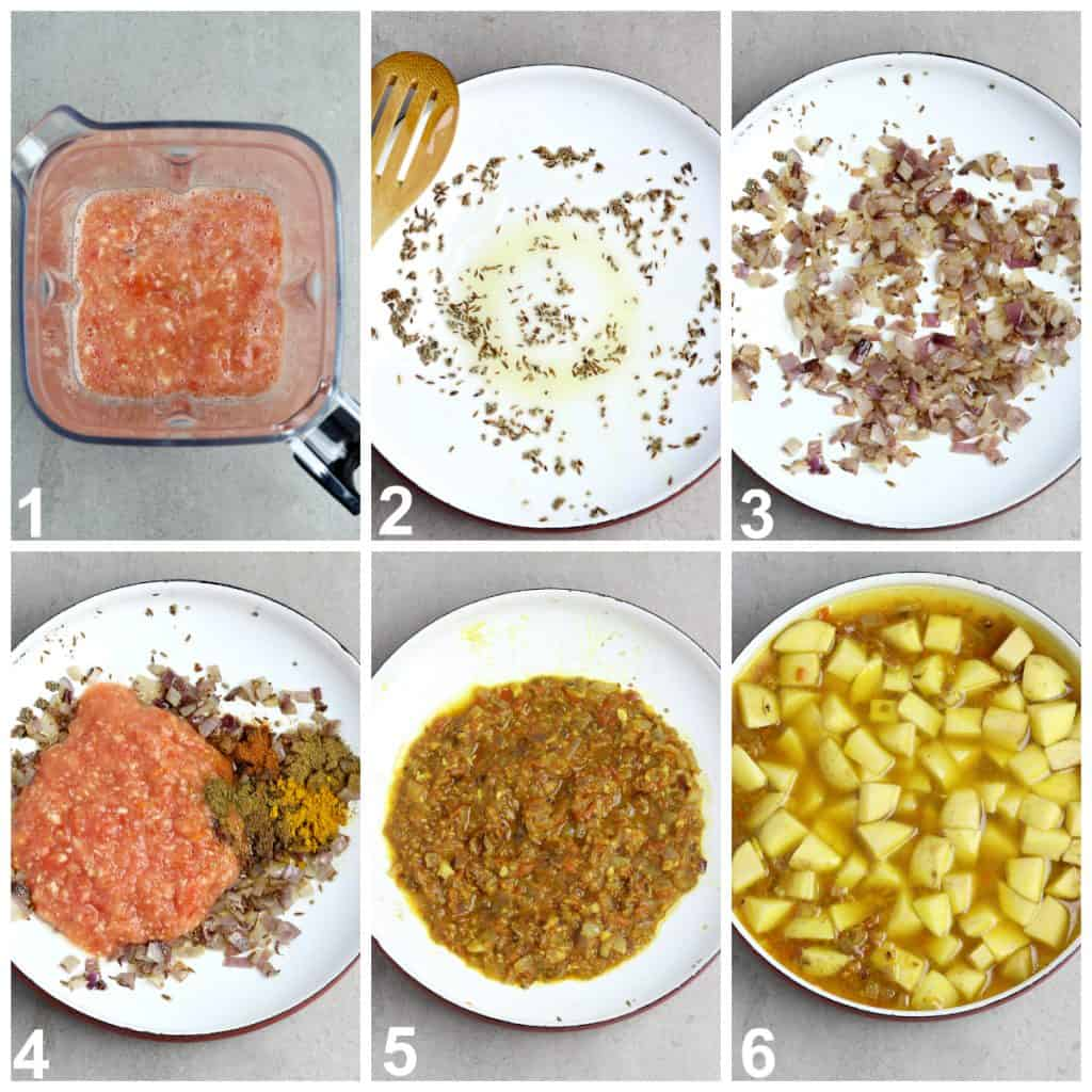 6 process photos of cooking food in a pan.