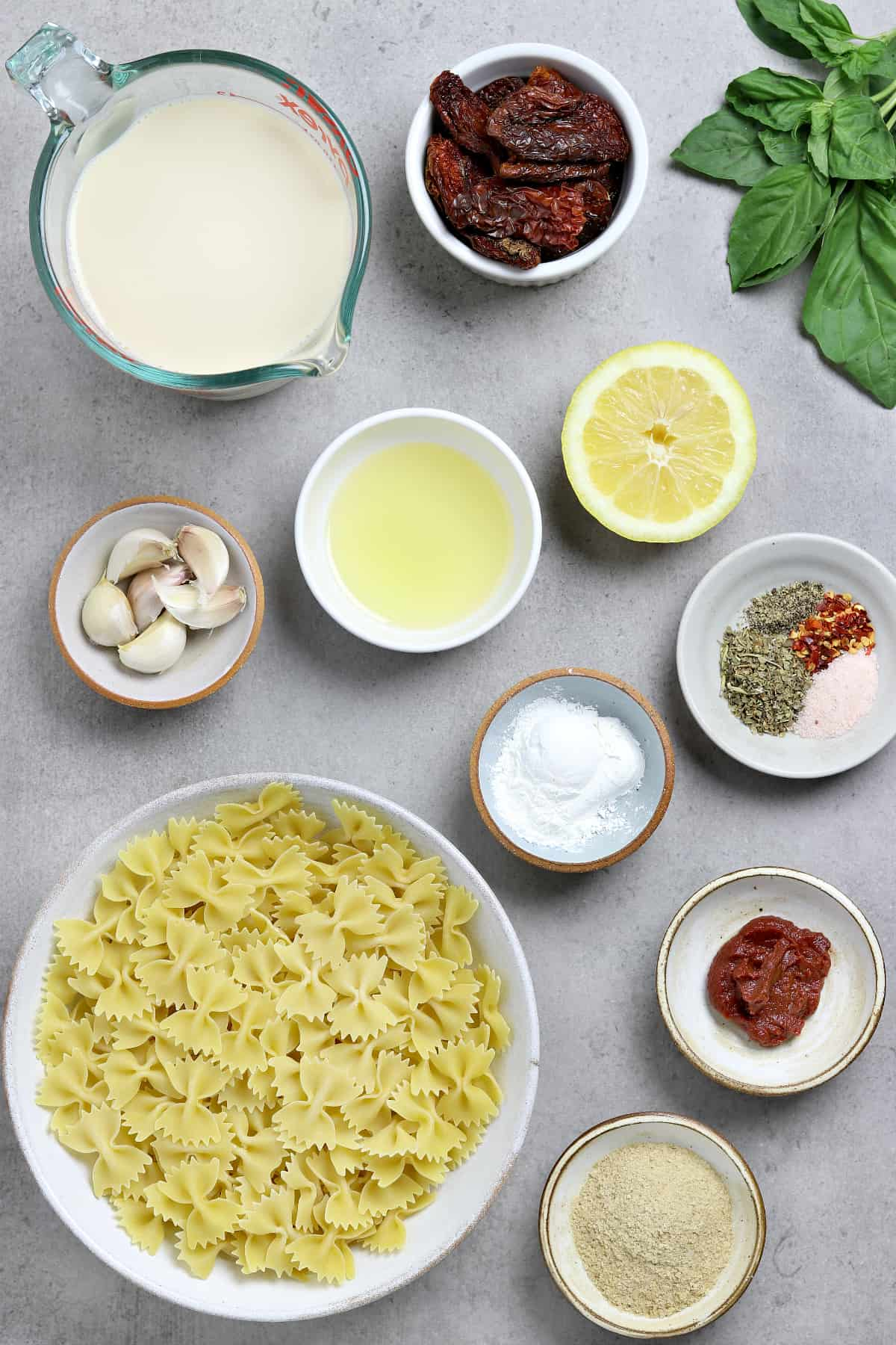 Ingredients to make the recipe on a stone table top.