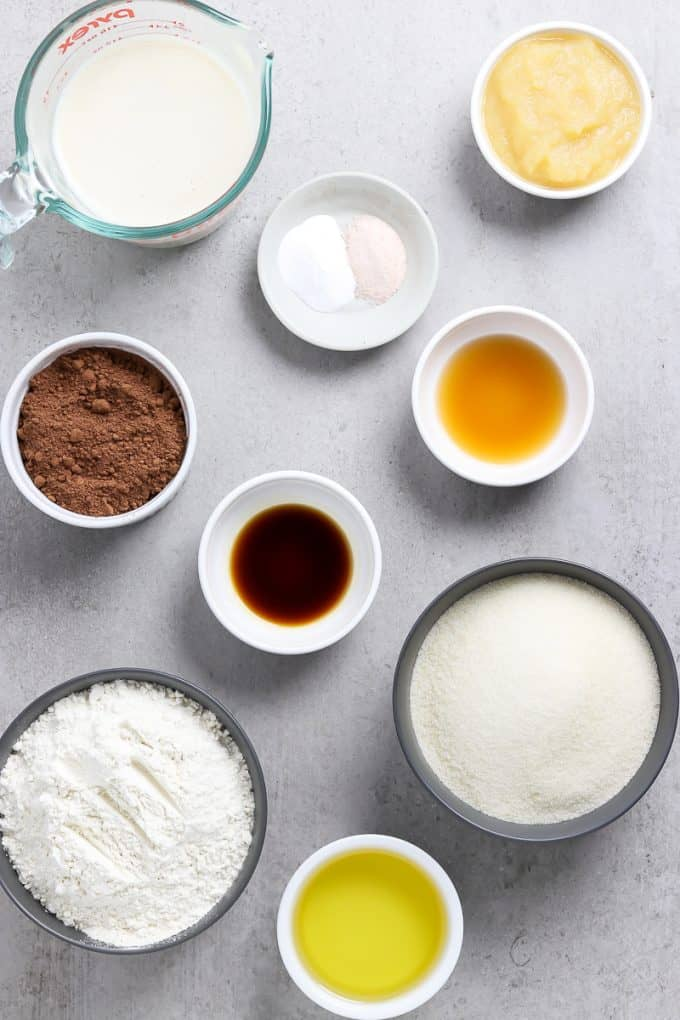 All the ingredients to make the batter on a stone table top.