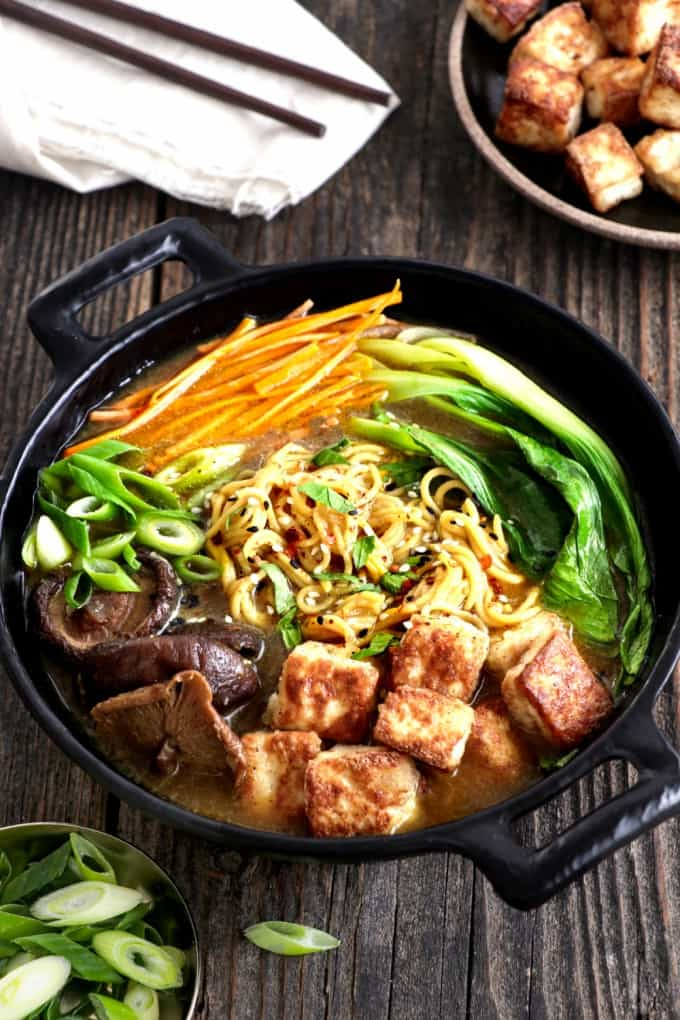 vegan ramen in a bowl. Pinterest pin