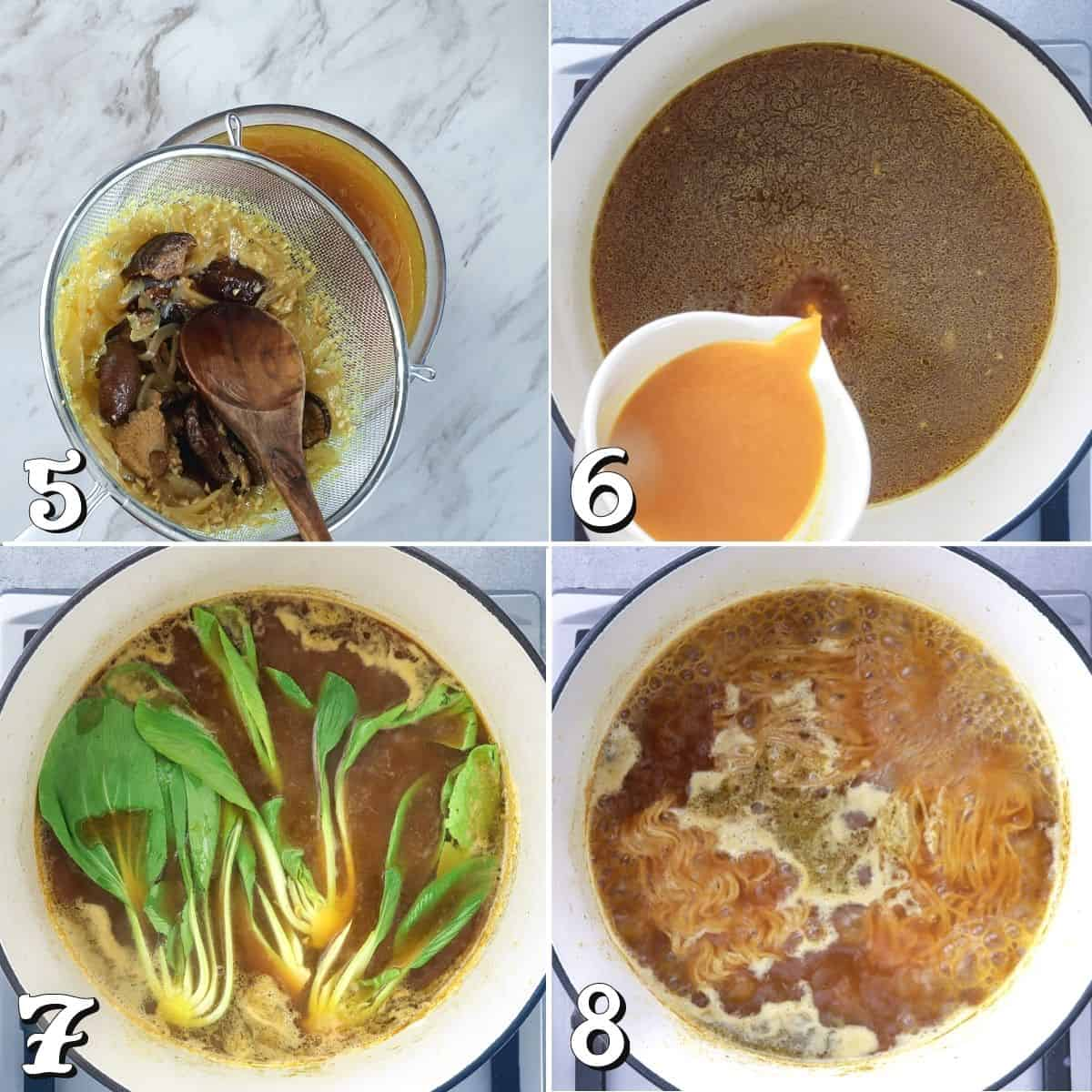 4 process photos of preparing the broth and bok choy in a pot.