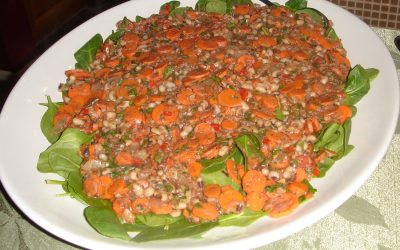 Middle-Eastern-Style Hoppin' John and Carrots over Wilted Spinach