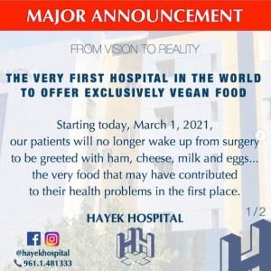 hayek hospital vegan