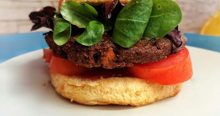 Hamburgesa vegana de soja texturizada y champiñones ¡Sin gluten!