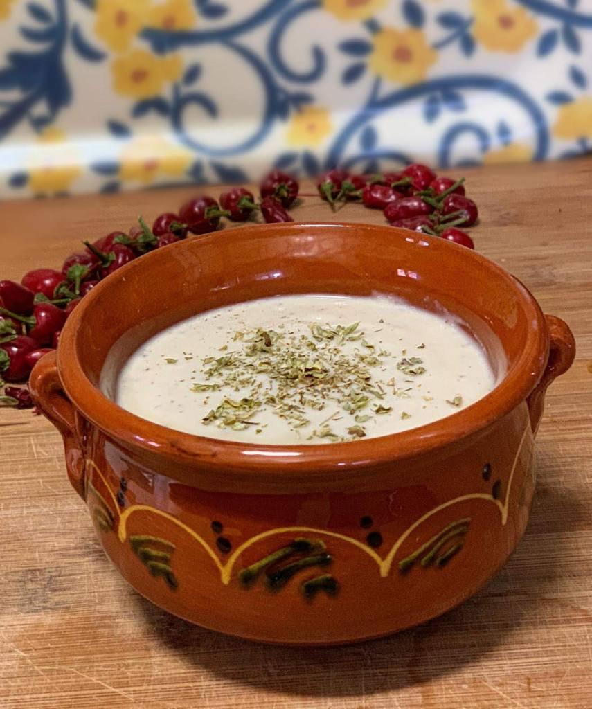 Crema de coliflor vegana con leche de soja