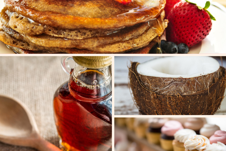 Mosaic of algave syrup, pancakes with strawberries, coconut and cupcakes