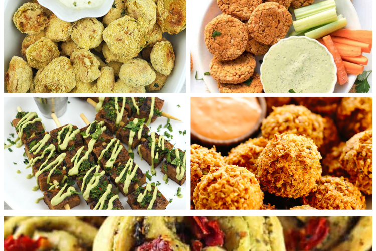 collage christmas appetizers vegan recipes