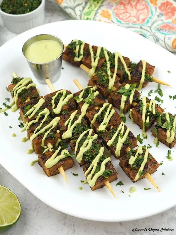 Christmas appetizers seitan skewers