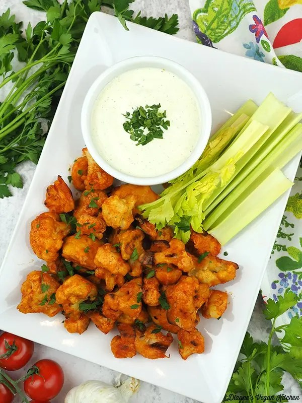 Vegan Buffalo Cauliflower Bites With Cashew Ranch Dressing