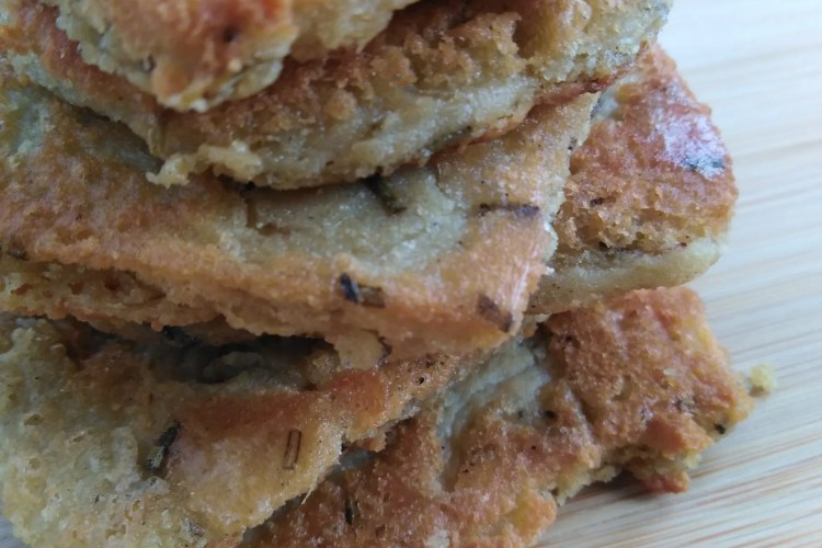 close up of stack of chickpea fritters