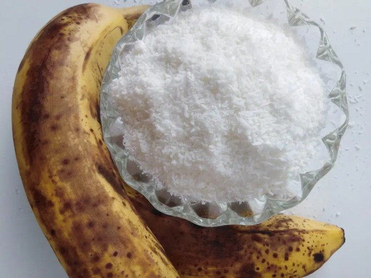 2 bananas and a glass ramakin with grated coconut to make vegan coconut macaroons