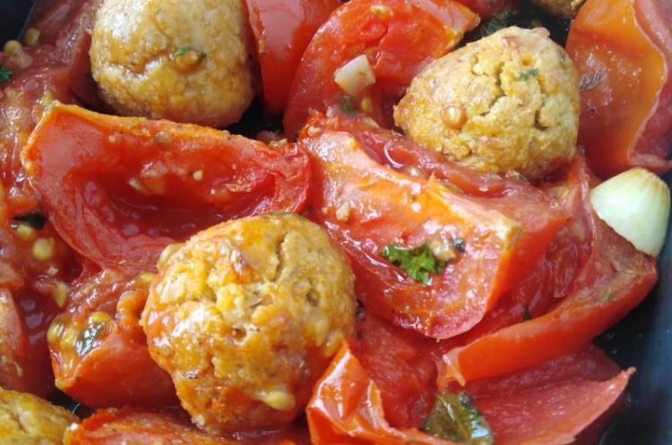 Chickpea Balls with Lazy Italian Garlic Roasted Tomatoes - Super Easy