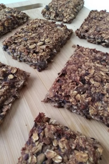 vegan oat bars on a wooden tray