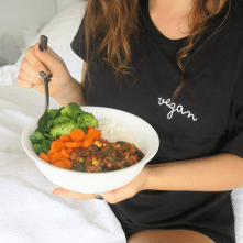 The VEGAN Shirt worn by @everydaysimplehealth | Veganized World | Sustainable clothing spreading the vegan message | Changing the world one vegan t-shirt at a time | x