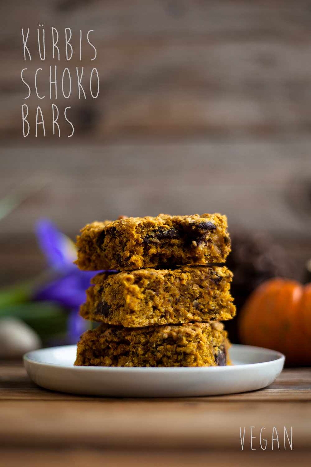 Schoko Kürbis bars vegan pinterest