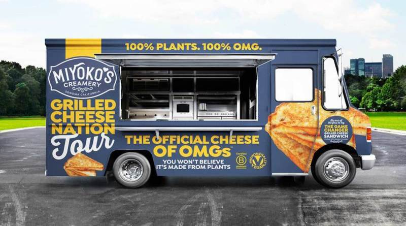 Miyoko's Creamery will be travel from coast to coast in the United States serving free vegan grilled cheese sandwiches.