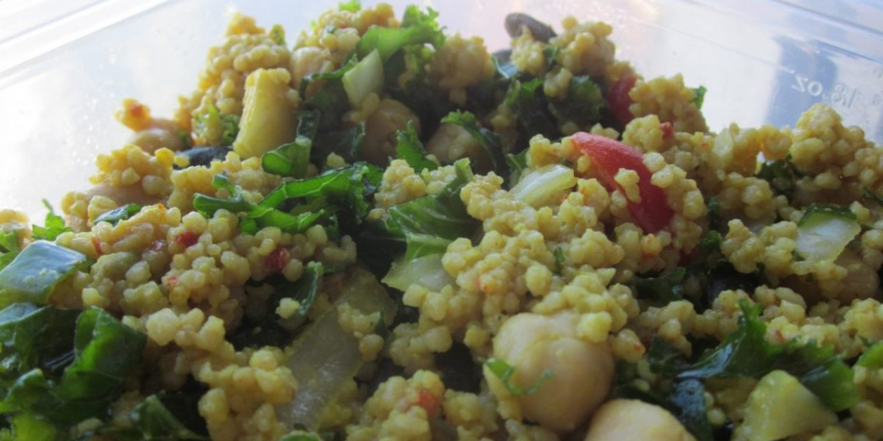 Raw Kale Avocado and Chickpea Couscous Salad