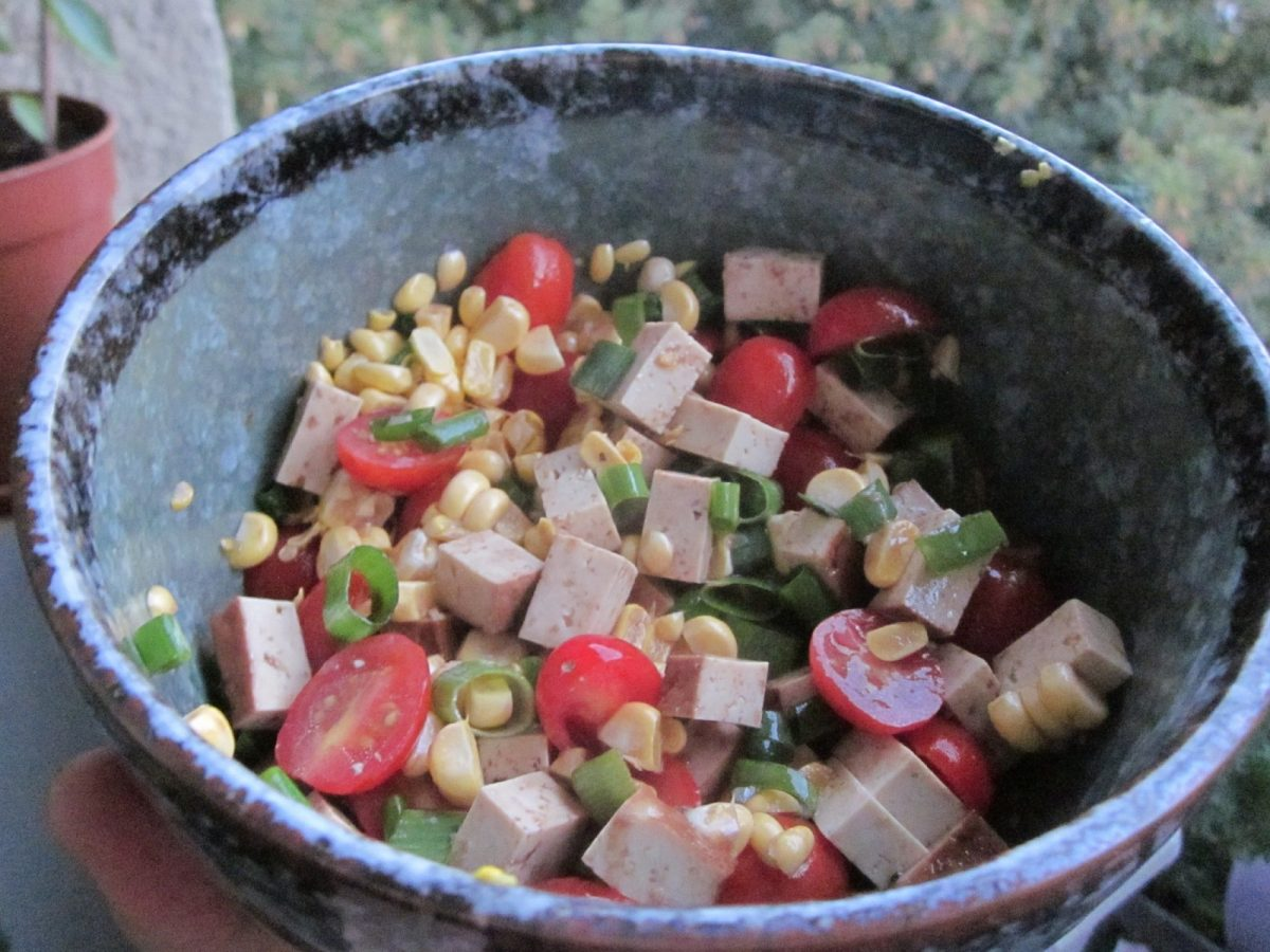 Smoked Tofu Corn Tomato Salad   Vegan Nom Noms