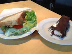 MiiT Cafe Riga Latvia Vegan Sandwich and Bounty Bar - Vegan Nom Noms