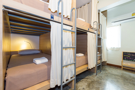 Trica Hostel Bangkok view of beds