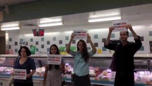 Brisbane DxE activists protest against meat. Source: Facebook